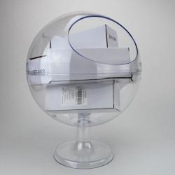 boite distributrice forme boule transparente sur pied