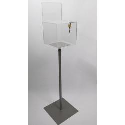 Urne plexi acrylique transparente sur pied + porte-visuel