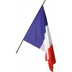 Drapeau français sur Hampe en bois gainée de bleu