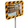 Miroir industrie et logistique avec cadre jaune et noir