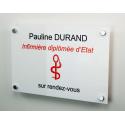 Plaque professionnelle plexi blanc + entretoises
