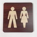 Plaque signalétique de porte écologique toilettes homme femme
