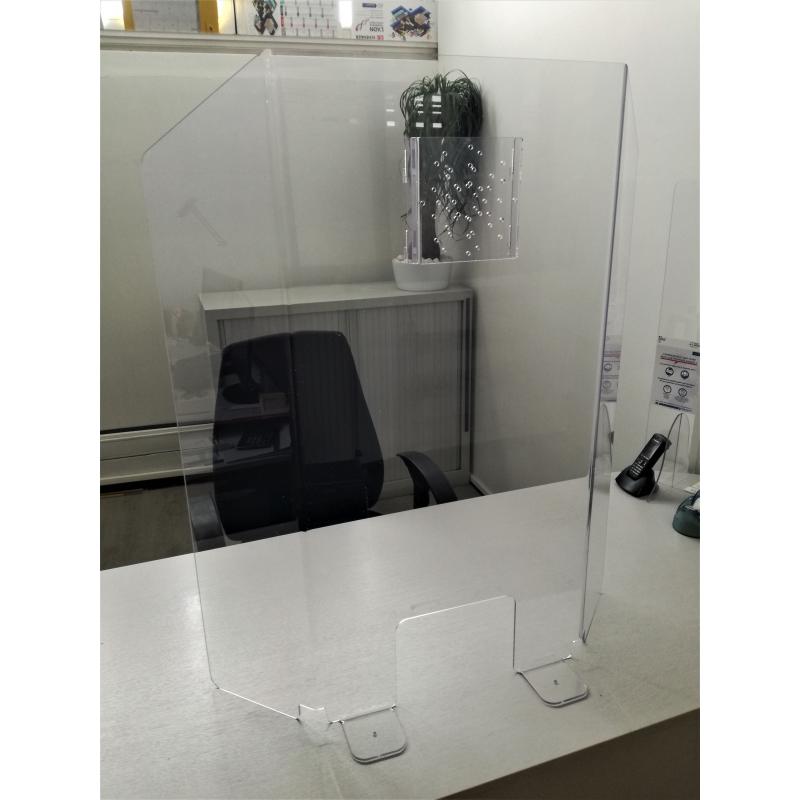 Vitre Plexiglas 3 côtés protection virus pour bureau et comptoir avec double perforations audio