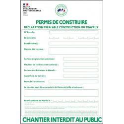 Panneau PVC Immobilier Blanc de Permis de Construire France relance #PI0141
