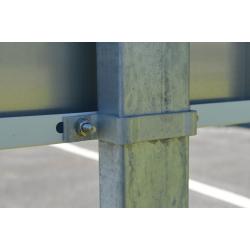 mats et poteaux  acier galvanisés pour panneauxde signalétique , brides de fixation de panneau sur mat